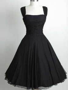 Vintage A-Line Square Neck Black Chiffon Short Homecoming Dresses,Little Black Dresses