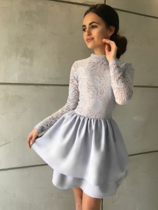 Cute A-Line High Neck Long Sleeve Tiered Grey Lace Short Homecoming Dresses,Back to School Dress