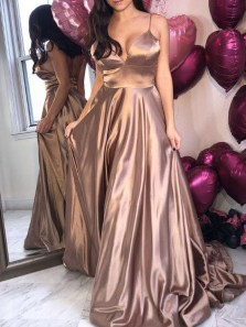 Simple A-Line Spaghetti Straps Open Back Champagne Satin Long Prom Dresses,Evening Party Dresses