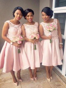 A-Line Round Neck Pink Satin Tea Length Bridesmaid Dresses with Lace Top