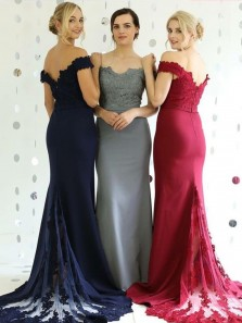 Stunning Off the Shoulder Burgundy Elastic Satin Mermaid Long Bridesmaid Dresses with Lace DG0919003