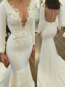 Mermaid Deep V Neck Long Sleeved Ivory Satin Wedding Dresses with Appliques,Bridal Gown with Train