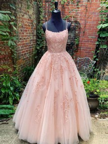 Charming A-Line Scoop Neck Open Back Blush Pink Tulle Long Prom Dresses with Appliques,Evening Party Dresses