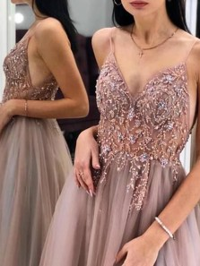 Gorgeous A-Line V Neck Spaghetti Straps Open Back Blush Tulle Long Prom Dresses with Beading,Princess Evening Party Dresses