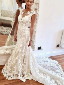 Elegant Mermaid Round Neck Ivory Lace Wedding Dresses with Train