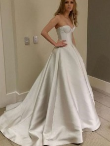 Simple Ball Gown Sweetheart Open Back Satin Wedding Dresses with Train