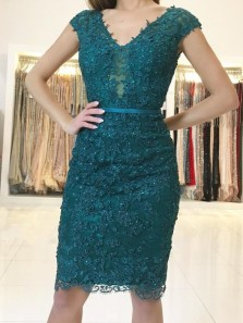 Chic Sheath V Neck Cap Sleeve Open Back Peacock blue Lace Short Prom Dresses,Evening Party Dresses