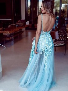 Glamorous A-Line V Neck Backless Blue Lace Appliques Long Prom Dresses,2020 Formal Evening Party Dresses
