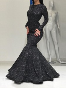 Sparkly Mermaid Round Neck Long Sleeve Black Sequins Long Prom Dresses,Elegant Formal Party Dresses
