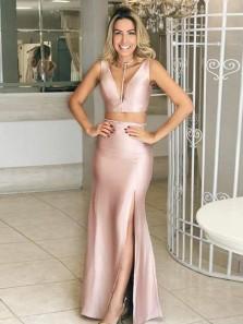 Modest Two Piece V Neck Open Back Blush Elastic Satin Long Prom Dresses with Side Split,Formal Party Dresses