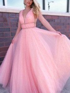 Charming A-Line V Neck Open Back Pink Tulle Long Prom Dresses with Beaded,Evening Party Dresses