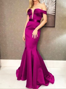 Glamorous Mermaid Off the Shoulder Open Back Violet Satin Long Prom Dresses with Train,Formal Evening Party Dresses