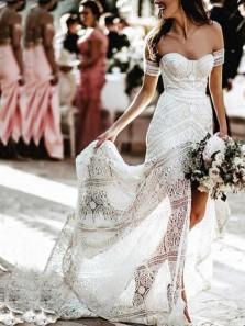 Mermaid Sweetheart Open Back Ivory Lace Boho Wedding Dresses