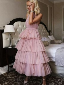 Princess A-Line Halter Backless Tiered Tulle Ankle Length Prom Dresses