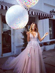 Charming A-Line V Neck Pink Tulle Long Prom Dresses with White Lace,Formal Evening Dresses