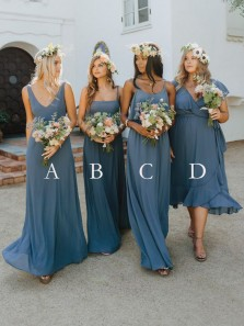 Elegant A-Line V Neck Chiffon Long Bridesmaid Dresses Under 100