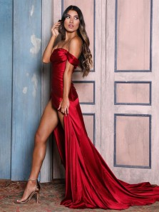 Charming Mermaid Strapless Dark Red Satin Long Prom Evening Dresses with High Split