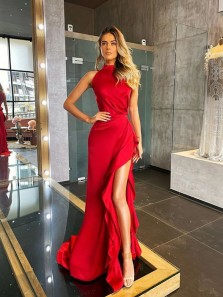 Stylish Sheath Halter Red Satin Long Prom Evening Dresses with Ruffle Slit