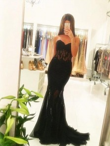 Sexy Lace Sweetheart Corset Black Tulle Mermaid Prom Dresses with Applique