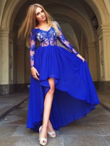 Vintage A-Line V Neck Long Sleeve Royal Blue Floral Lace High Low Prom Dresses,Classy Cocktail Party Dresses