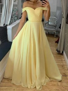 Fairy A-Line Off the Shoulder Open Back Daffodil Chiffon Long Prom Dresses with Beading,Evening Party Dresses