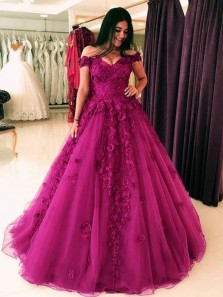 Gorgeous A-Line Off the Shoulder Open Back Hot Pink Tulle Long Prom Dresses with Appliques,Charming Quinceanera Dresses