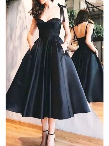 Simple A-Line Sweetheart Open Back Black Satin Tea Length Prom Dresses,Vintage 1950s Dresses,Little Black Dresses with Pockets