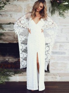 Boho Sheath V Neck Open Back White Lace Wedding Dresses with Slit