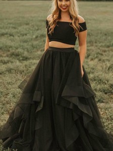 Glamorous Two Piece Off the Shoulder Short Sleeves Black Tulle Long Prom Dresses,2020 Formal Evening Party Dresses