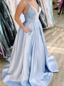 Glitter A-Line V Neck Open Back Sky Blue Sparkly Satin Long Prom Dresses with Pockets