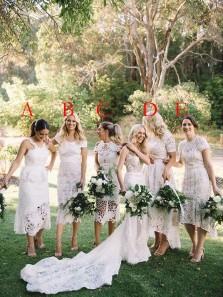 Modern White Lace Mismatched Tea Length Bridesmaid Dresses