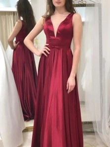 Elegant A-Line V Neck Dark Red Satin Long Prom Evening Dresses,Formal Party Dresses