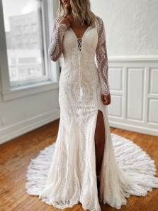Elegant Mermaid V Neck Backless Long Sleeve White Lace Wedding Dresses with Side Slit