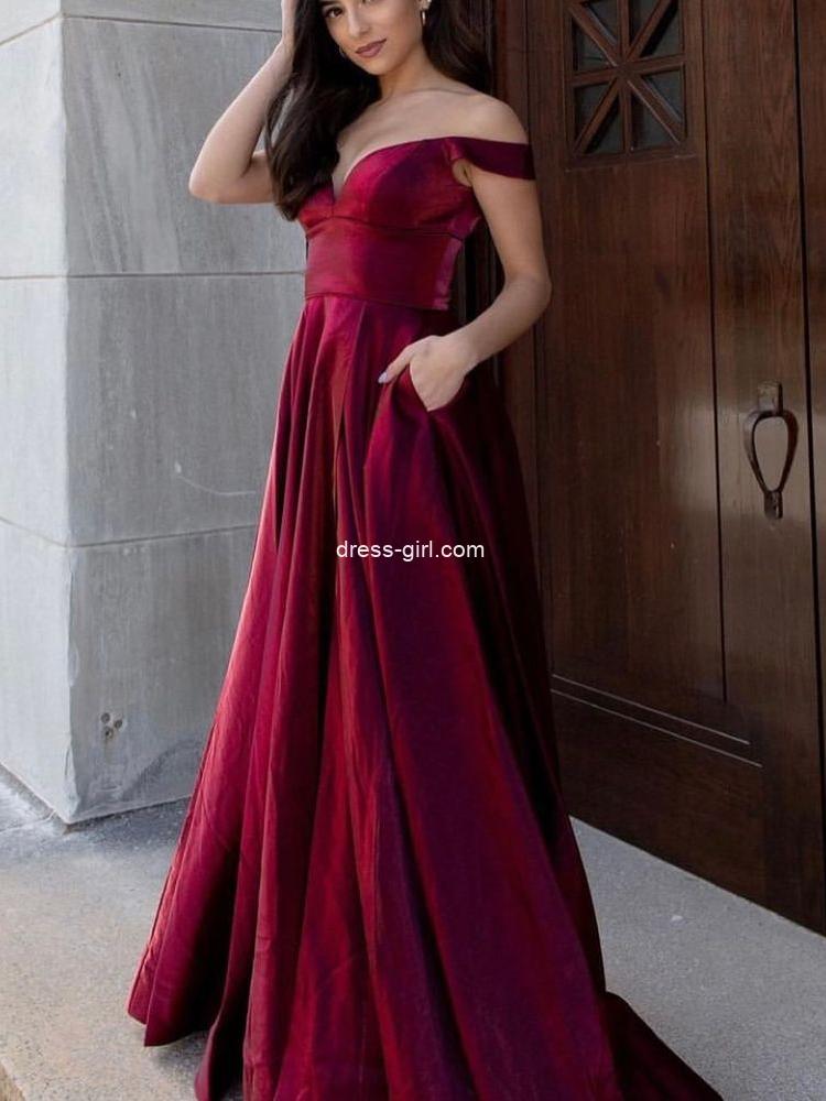Elegant A-Line Off the Shoulder Burgundy Satin Long Prom Dresses with Pockets,Formal Party Dresses