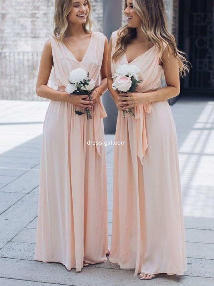 Simple A-Line V Neck Peach Chiffon Long Bridesmaid Dresses with Belt Under 100
