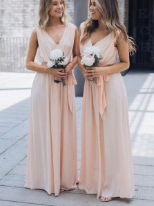 Simple A-Line V Neck Peach Chiffon Long Bridesmaid Dresses with Belt Under 100