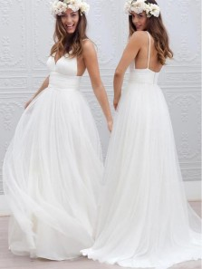 Simple A-Line V Neck Open Back White Tulle Long Wedding Dresses,Beach Wedding Dresses