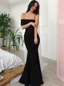Simple Mermaid Off the Shoulder Black Elastic Satin Long Prom Dresses,Sexy Evening Party Dresses