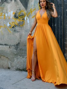 Stylish A-Line Halter Open Back Orange Satin Long Prom Evening Dresses with High Slit,Formal Party Dresses