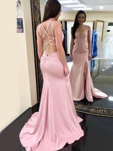 Charming Mermaid V Neck Cross Back Pink Split Long Prom Dresses with Beading, Elegant Evening Dresses