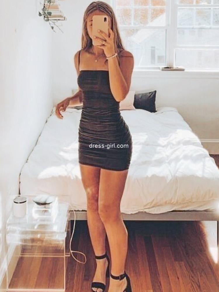 Sexy Bodycon Spaghetti Straps Black Mini Evening Party Dresses