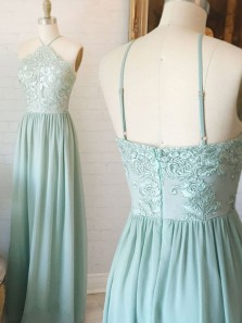 Stunning A-Line Halter Open Back Mint Chiffon Long Prom Dresses with Appliques,Charming Evening Party Dresses
