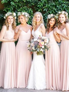 Simple A-Line Spaghetti Straps V Neck Open Back Pink Chiffon Long Bridesmaid Dresses Under 100