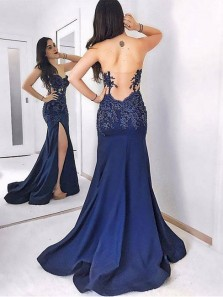 Sweetheart Mermaid Dark-blue Sweep-train Lace Split-front Evening Dress Royal blue Dress