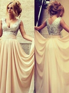 A-Line/Princess V-Neck Sleeveless Sexy Beading Long Prom Dresses