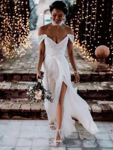 Unique A-Line V Neck Off the Shoulder Open Back White Chiffon Wedding Dresses with Lace