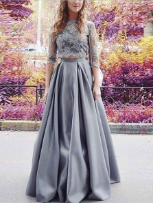 Elegant Two Piece A-Line 3/4 Sleeve Grey Satin Long Prom Dresses with Lace,Formal Party Dresses