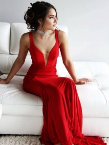 Elegant Mermaid Sweetheart Open Back Red Elastic Satin Long Prom Dresses,Simple Evening Party Dresses