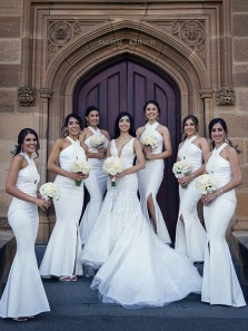 Simple Mermaid Halter Open Back White Satin Long Bridesmaid Dresses with Side Split