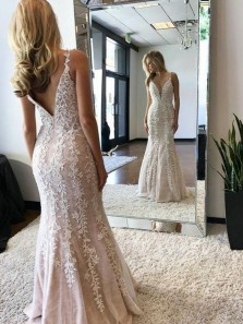 Charming Mermaid V Neck Open Back Blush Satin Long Prom Dresses with White Lace,Formal Prom Gown
